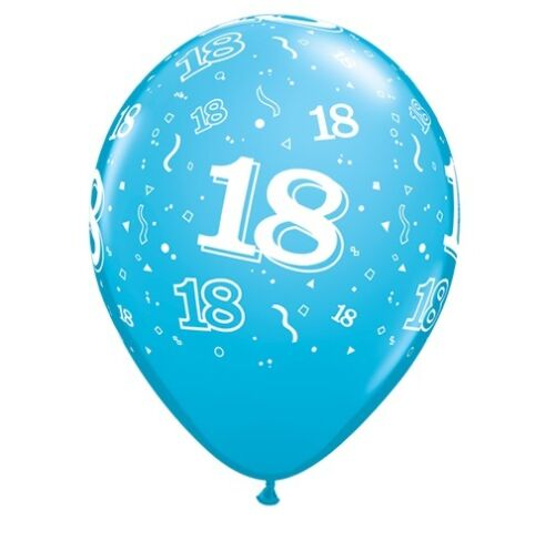 """18th Birthday Party Balloons 11/"""" {Qualatex} Pack of 6 Helium Quality//Age 18"""