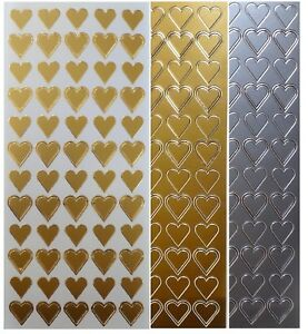 HEARTS-Peel-Off-Stickers-Love-Romance-Wedding-Stationery-Heart-Gold-or-Silver