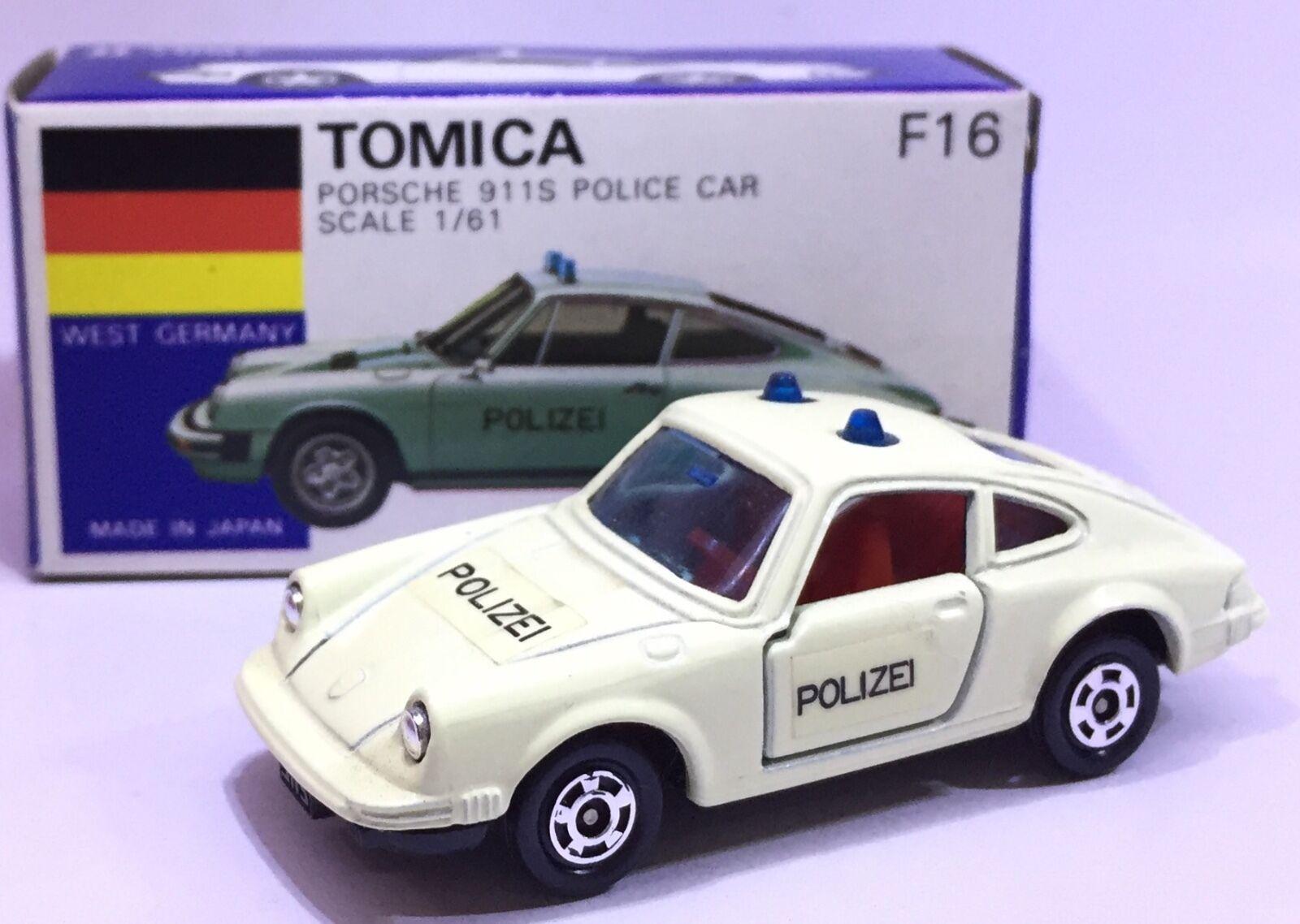 MADE IN JAPAN TOMY TOMICA F16 PORSCHE 911S POLIZEI WEST POLICE 1 61 DIECAST CAR