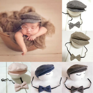 Cute Newborn Baby Boy Girl Peaked Flat Cap Beanie Hat Bow Tie Set ... 9f1bd34d56e