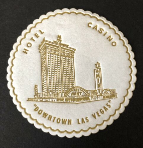 """2 Vintage Drink Coasters /""""The Mint/"""" Casino Hotel Downtown Lost Las Vegas Nevada"""