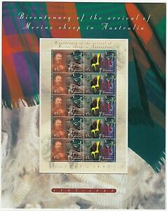 1997-STAMP-SHEETLET-PACK-039-BICENT-MERINO-SHEEP-IN-AUST-039-MINI-SHEET-10-x-45c-MNH