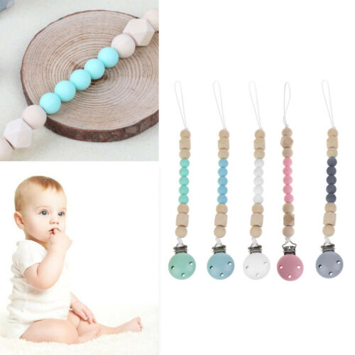 Candy Color Pacifier Clip Chain Holder Wood Silicone Beads Nipple Dummy Holder