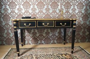 Bureau de style baroque elegant noir et doré à la feuille dor dun