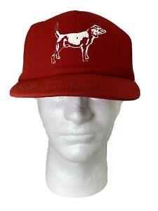 Vintage-Trucker-Hat-Snapback-Cardinal-Cap-amp-Jacket-Co-Red-Puffy-Padded-DOG