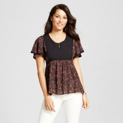 fae4c6e1bf971 NEW Women s Lace Trim Peasant Top with Eyelet Yoke - Knox Rose Black Size M