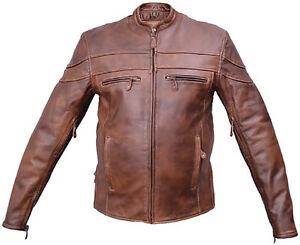 geventileerd motorfiets touring out jas voering leder Zip Heren bruin Biker tqpYY1x