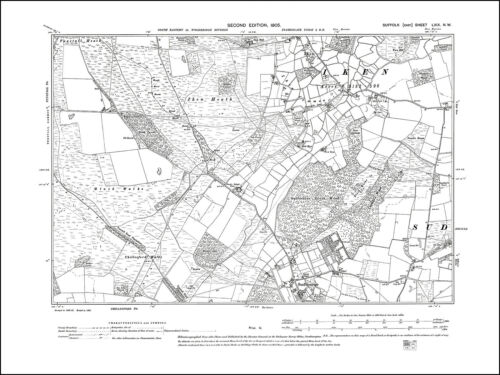 old map Suffolk 1905 Iken 69NW repro Sudbourne