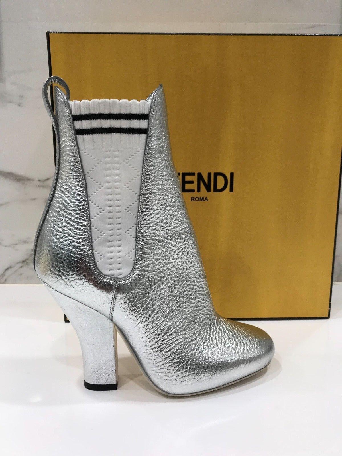 New Fendi Metallic Grained Leather Elastic Black White Chelsea Booties 40 $1050