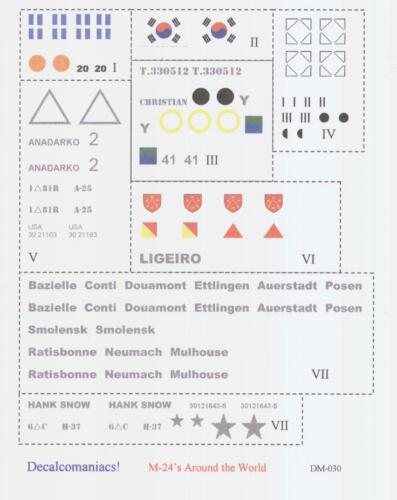 M-24/'s Around the World Decalcomaniacs 1//35 Decals