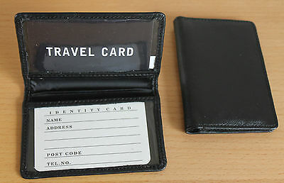 LEATHER BLACKOYSTER TRAVEL CARD BUS PASS HOLDER WALLET RAIL CARD COVER CASE NEW