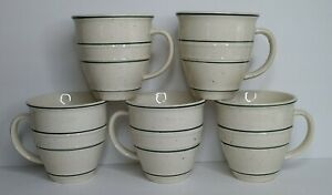 Tienshan Country Crock Set of (5) Green Speckled Green Bands Coffee Mug Cups EUC