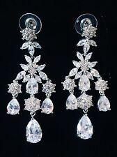 EARRING using Swarovski Crystal Dangle Drop Wedding Bridal Rhodium Silver CZ59