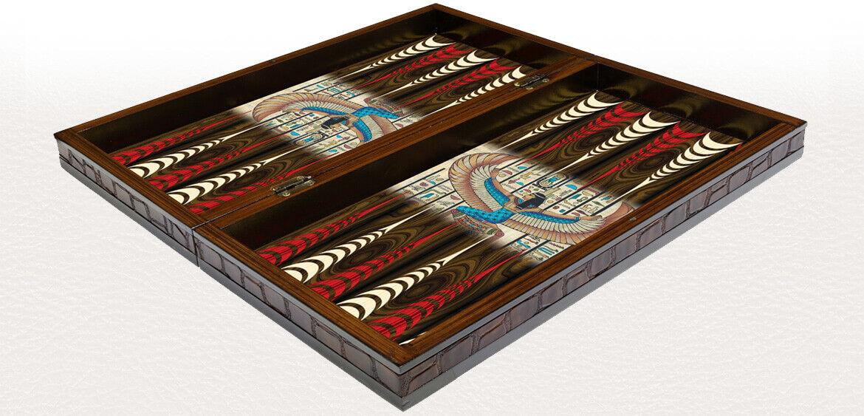 20  Egyptian Goddess Isis Pattern Laminated Compressed Wood Backgammon Set