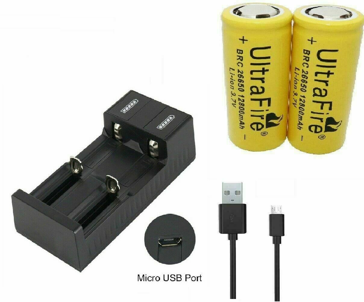 2pcs 26650 Battery 12800mAh 3.7V Li-ion Rechargeable Batteries with charger S