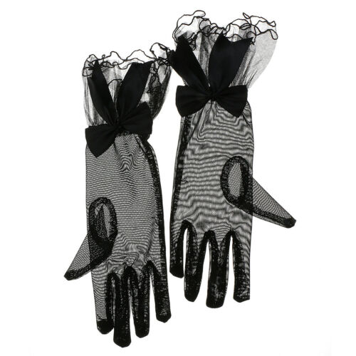 Kurzfingerhochzeitstanz Abendkleid Schwarzer Spitze Handschuhe Dame Stretch