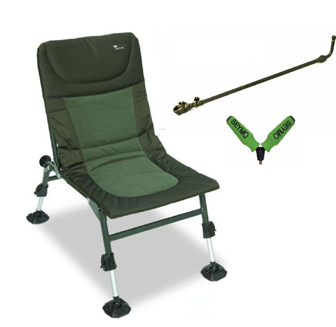 NGT Nomadic Folding Carp Fishing Chair Mud Feet Long arm & Seymo Roller