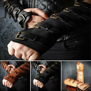 Men-039-s-PU-Leather-Medieval-Gothic-Steampunk-Buckle-Belt-Costume-Cosplay-Bracers