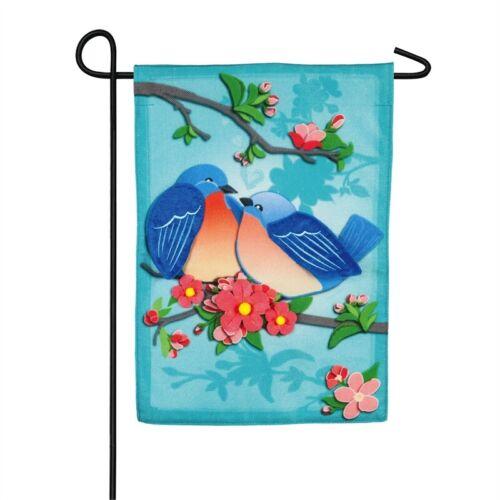 14B8956 Portly Love Birds Garden Burlap Flag