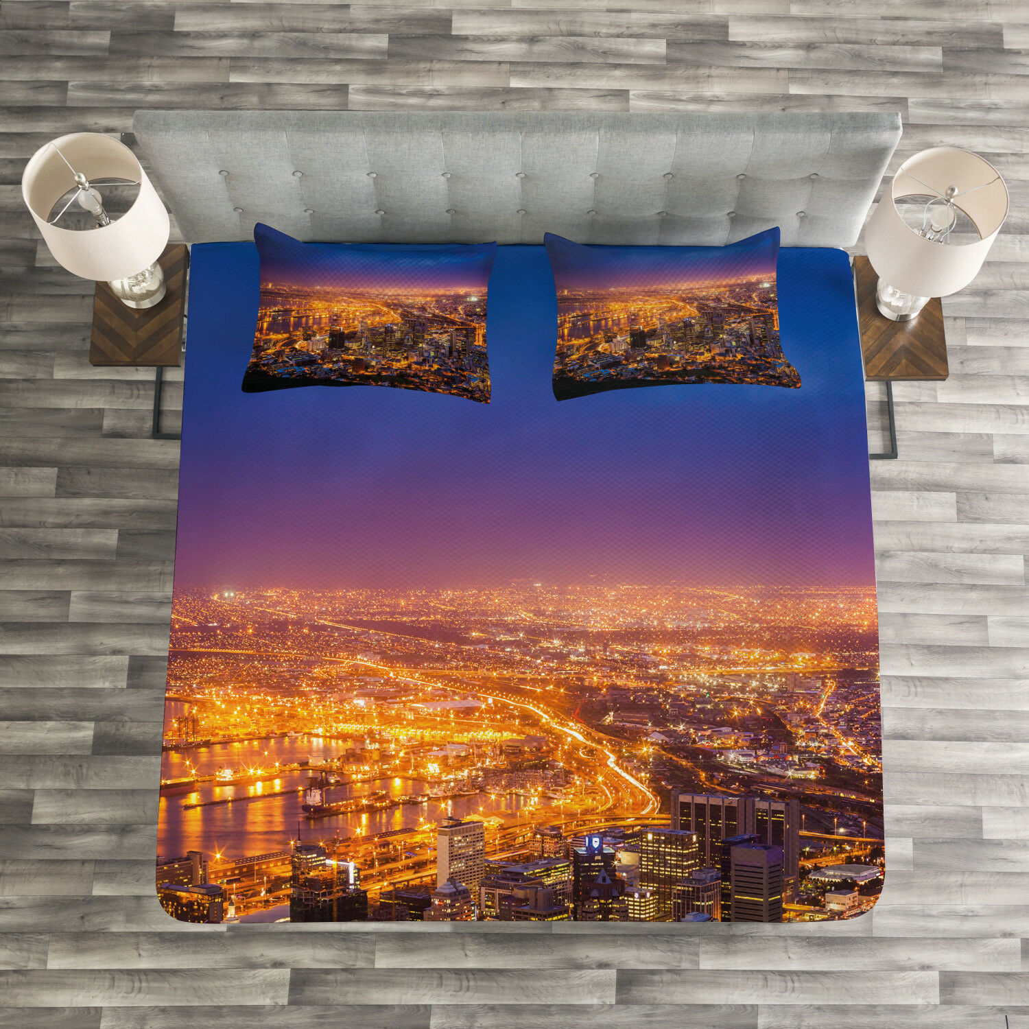 City Quilted Bedspread & Pillow Shams Set, Cape Town Panorama Africa Print