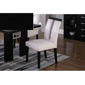 Details About Dining Room Furniture Black White Color 6 Upholstered Side Chairs Wooden Legs