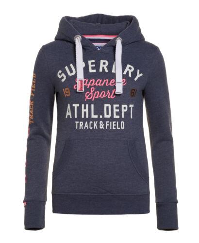 Neuer Damen Superdry Track /& Field Hood Mid Denim Meliert