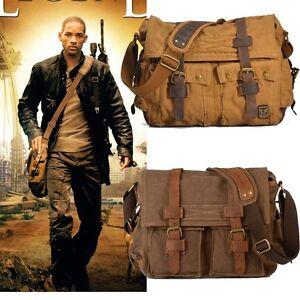 Vintage Men's Canvas Leather Satchel School Military Shoulder Bag ...