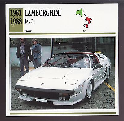 1981-1988 Lamborghini Jalpa Car Photo Spec CARD 1982 1983 1984 1985 1986 1987