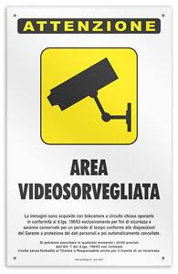 Cartello-vinile-4-fori-034-Zona-Videosorvegliata-034-negozio-studio-laborat-officina