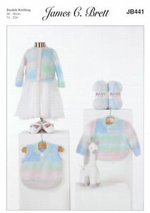 James Brett DK Knitting Pattern Baby Curved Hem Sweater Slipover Cardigan JB441