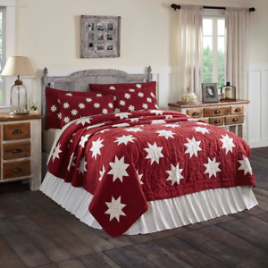 KENT-QUILT-SET-choose-size-amp-accessories-Red-Primitive-Star-Chambray-VHC-Brands