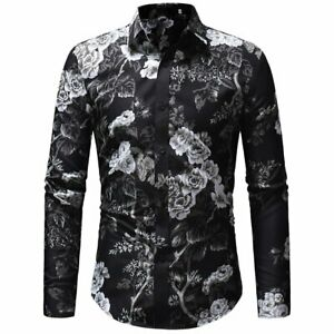 Trendy-Men-039-s-Luxury-Slim-Fit-Floral-Shirt-Long-Sleeve-Dress-Shirts-Casual-Tops