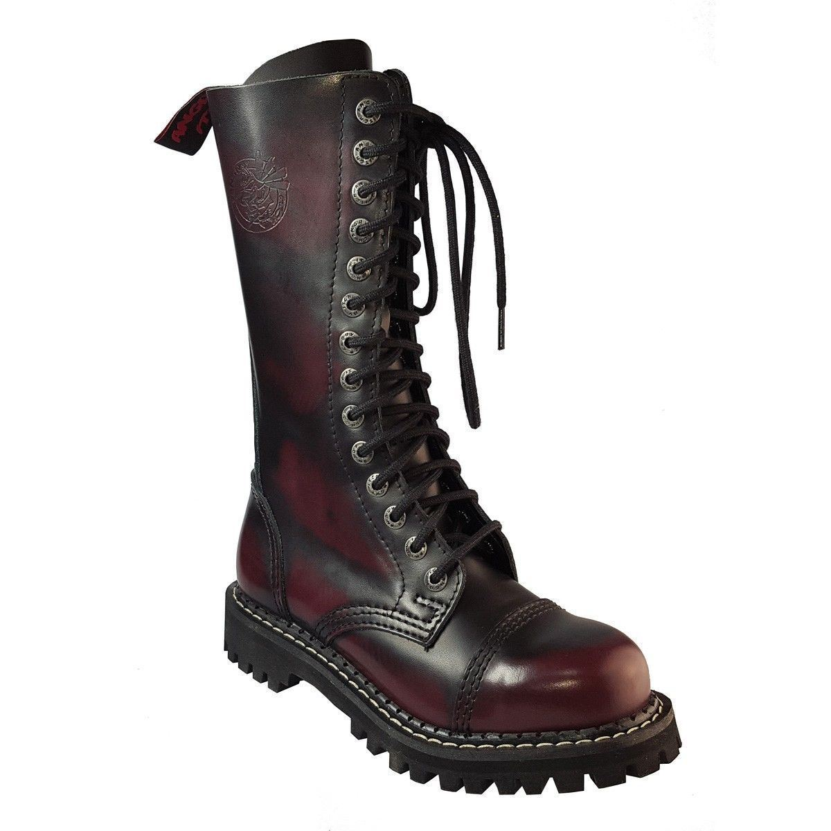 Angry Itch Rosso 14 FORI Rosso Itch Bordeaux in Pelle Anfibi Ranger Acciaio Toe Zip Punk aa1a64