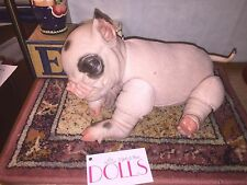 Reborn Piglet with soft pink cloth body, painted pink and black face/limbs