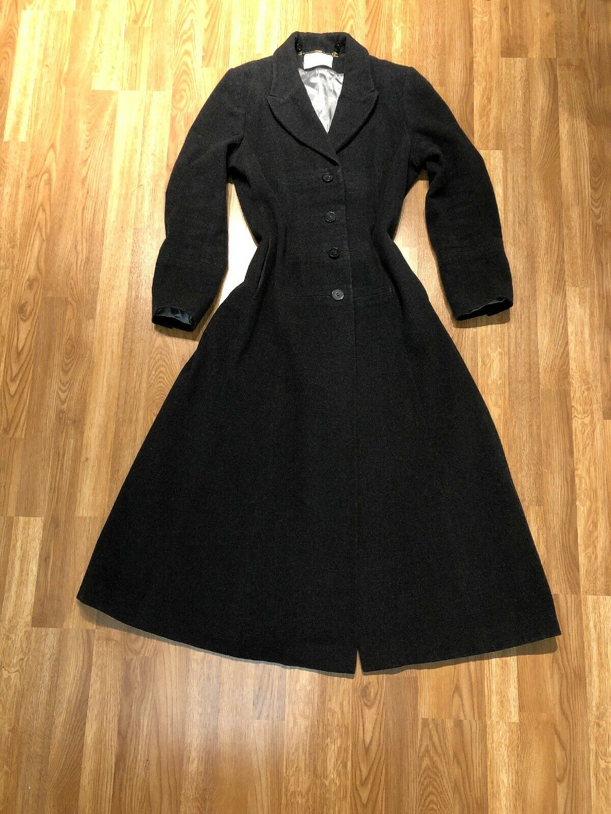 Vintage Victorian Style Ladies Long Riding   Elegant Overcoat - Cashmere Blend M