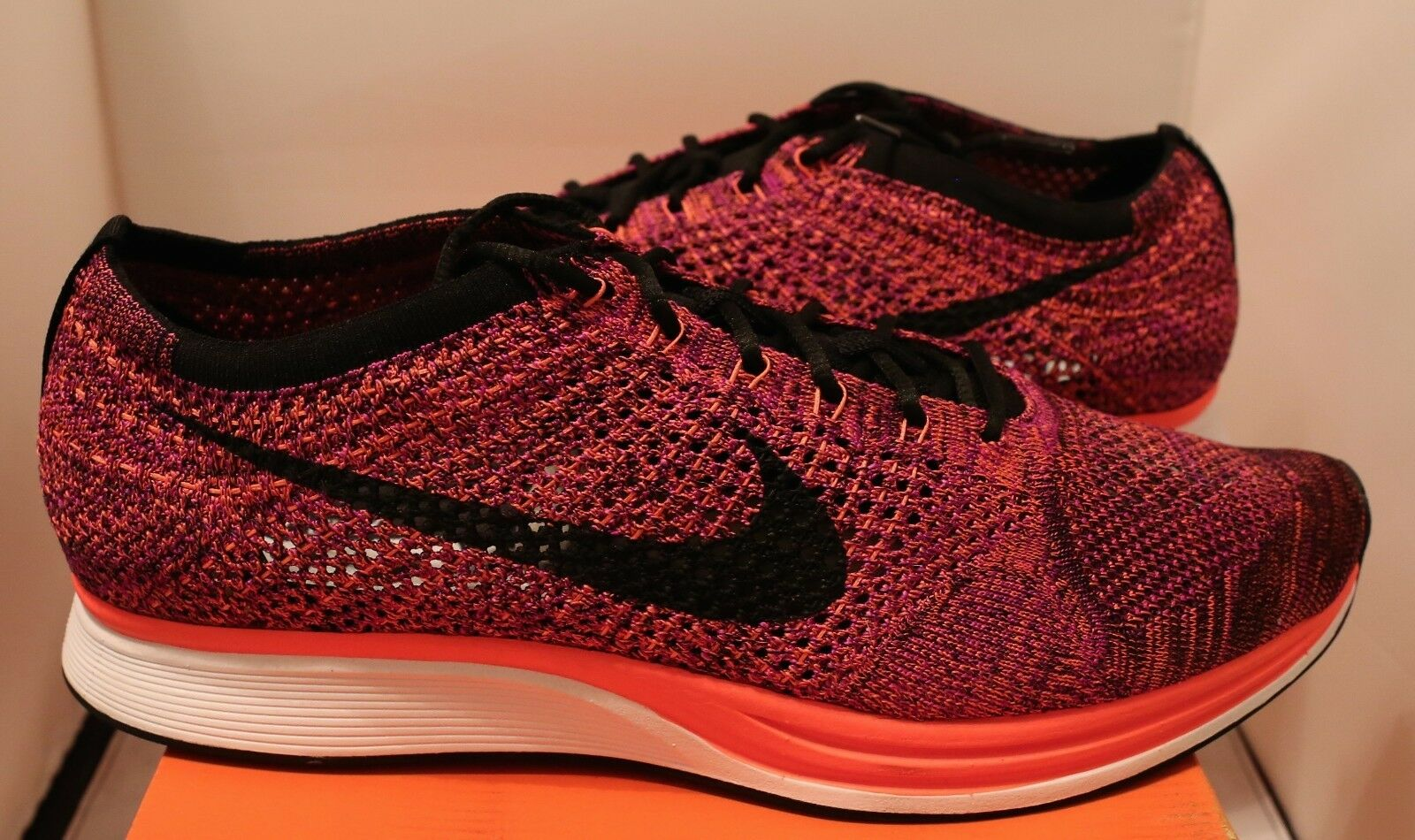 Nike Flyknit Racer Hyper orange Vivid Purple Acai Berry Sz 13 red pink