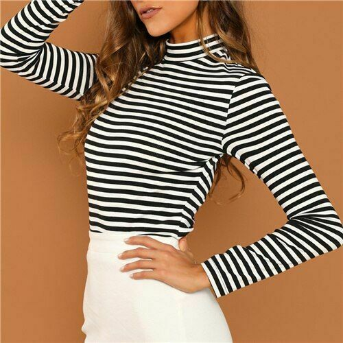 Striped Slim Fit Shirt Close Neck Autumn Women Top Black And White Casual Wear
