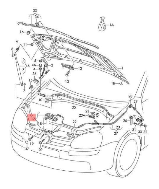 Genuine Bonnet Lock Lower Part Lhd Vw Golf R32 Gti Rabbit Jetta