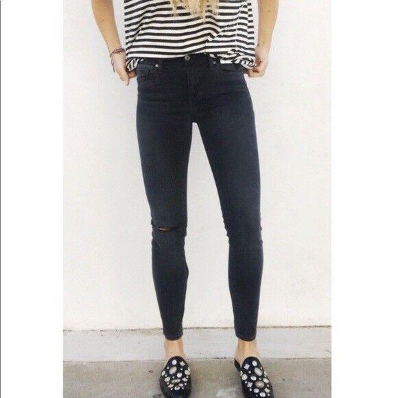 NWT  Pistola Size 28 Distressed Super Skinny Crop Dark Jeans