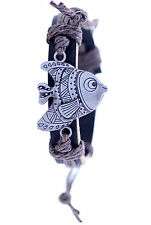 Tibetan silver fish ethnic hemp leather charm bracelet