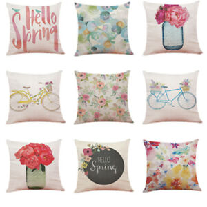 Beau Image Is Loading Home Decor Cushion Cover Hello Spring Throw Pillowcase