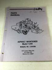 Leeboy Model 1200 Asphalt Maintainer Parts Manual