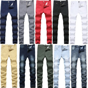 New-Mens-Stretch-Jeans-Slim-Fit-Straight-Washed-Denim-Jean-Pants