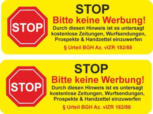 Briefkasten Aufkleber STOP KEINE WERBUNG UV Beständig Schild Sticker Wetterfest
