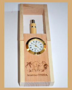 Teak-Wood-Engraved-Pen-Holder-Desk-Clock-Pen-Pencil-Stand-with-Pen-from-India