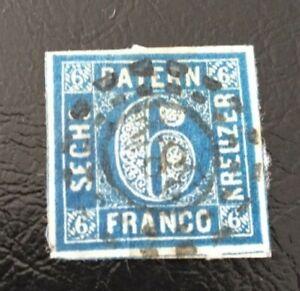 Bayern-6-Kreuzer-blau-Nr-10-I-oMR-034-384-034-Pasing