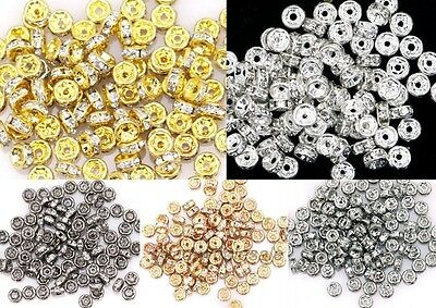 100pcs Useful Crystal Rhinestone Paved Copper Metal Spacer Beads Finding 4mm