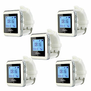 5xRestaurant-433MHz-Watch-Pager-Receiver-Waiter-Call-Pager-Server-Calling-System