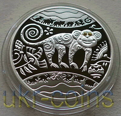 Ukraine 2016 Year of Monkey Lunar Silver Coin Chinese Zodiac proof 5 UAH 1/2 Oz