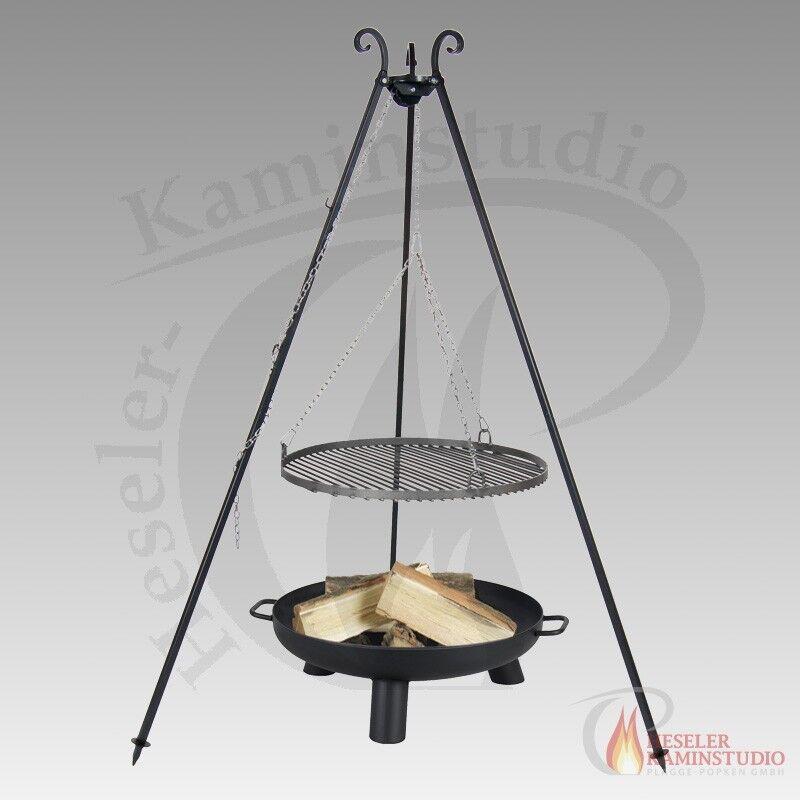 Braciere PAN 37 Bali Forno Nero Ø 80cm + tre Gamba, panoramica grill in acciaio grezzo